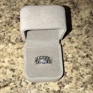 925 sterling silver solitaire CZ wedding band set